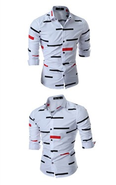 Korean slim long sleeve pure cotton shirt men's shirt geometric printing black dark blue white inch shirt