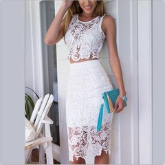 Fashion Women Summer Dress Lace 2 Piece Set Bodycon Sexy Dresses