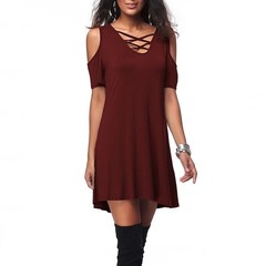 Hot new shoulder V collar casual loose loose cotton pure color black rice wine red dark blue dress