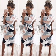 Summer Women's Characteristic Pattern Printed Irregular Slit Dress