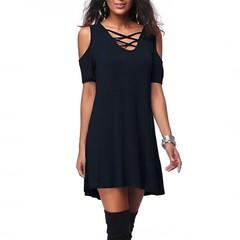 Hot new shoulder V collar casual loose loose cotton pure color black rice wine red dark blue dress