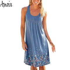 Women's Fashion Summer Beach Print O-neck Dress