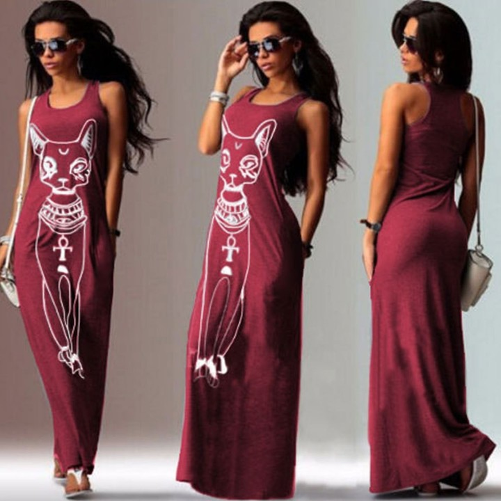 Womens Femme Fashion Sleeveless Cat Print Long Maxi Dress Beach Dress Sundress Casual Dresses