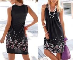 Women's Fashion Summer Beach Print O-neck Dress