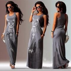 Womens Femme Fashion Sleeveless Cat Print Long Maxi Dress Beach Dress Sundress Casual Dresses