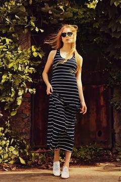 Women Summer Striped Boho Evening Party Long Maxi Beach Dress Cotton Vest Dress