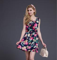 Fashion Women New Exquisite Sleeveless Round Neck Florals Print Pleated Dress Saias Femininas Summer Clothing