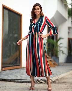Spring and autumn new style long sleeve rainbow stripe slit medium length dress