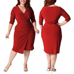 Fashion Woman Overlap Tight Surplice Dress plus-size dresses.