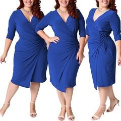 Fashion Woman Overlap Tight Surplice Dress plus-size dresses.
