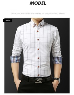 Men's fashion cotton long-sleeve shirt summer youth business casual plaid shirt