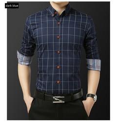 Men's fashion cotton long-sleeve shirt summer youth business casual plaid shirt