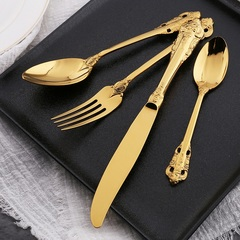 Golden Retro Stainless Steel Tableware Western Dinnerware Flatware Set Of 4-Pieces(Knife Spoon Fork) Ordinary Style One Size