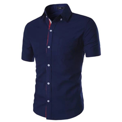 Fashion Mens Dress Casual Slim Fit Short Sleeve Polo-Shirts100%cotton Navy blue M