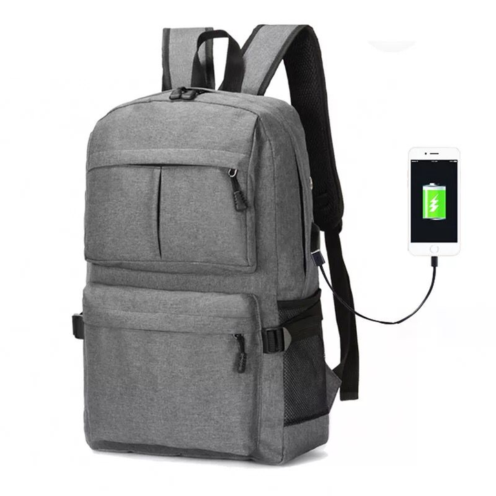 Men and women Business Laptop Backpack,Waterproof USB Charging Port & Headphone interface Bag gray 30.0 cm * 16.0 cm * 50.0 cm