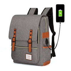 Fashion Men Daily Canvas USB Backpacks for Laptop Large Capacity Computer Bag Casual School Bagpacks gray 40cm * 30.0 cm * 13.0 cm