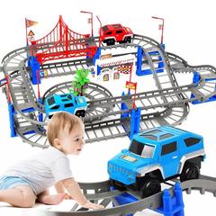 78PCS Railway Road 3D Track Toys DIY Variety Car Train Model Assembly Racing Rail Tracks Car gray one size