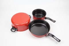 3Pcs/Set High Quality Cooking Pots Cookware Set Non-Stick + 3Pcs/Set Truners For Kitchen red 3Pcs