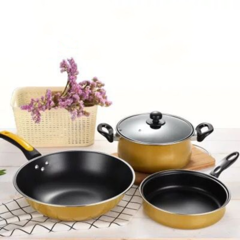 3Pcs/Set High Quality Cooking Pots Cookware Set Non-Stick + 3Pcs/Set Truners For Kitchen black 3pcs