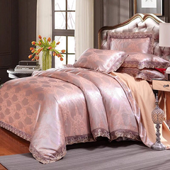 100% Preferred Cotton 4Pcs Bedding Set(1 Duvet cover+1 Bed sheet+2 Pillow covers) Smooth Soft e-color as picture 1.8m-bed