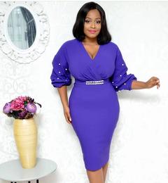 Women Ladies Solid Color Half Sleeves Elegant Office Lady Overhip Knee Length Pencil Dress blue m