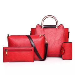 4Pcs/Set Women Bag Tassel Handbag Purse Ladies PU Leather Crossbody Bag red One size