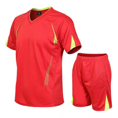 Summer men's casual sports suit men's short sleeved shirt+shorts fitness sportswear(2Pcs) red m
