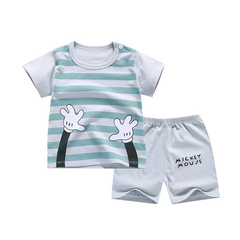 New fashion baby boys clothes set cotton material with striped print infant clothing set a-color as picture 80cm