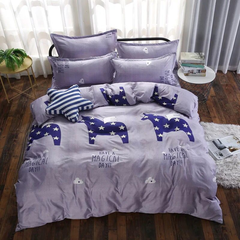 4Pcs Bedding Set (1 Duvet cover+1 Bed sheet+2 Pillow covers) Super Wash Padding Cotton Elasticity f-color as picture 1.8m-bed