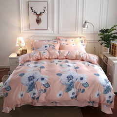 4Pcs Bedding Set (1 Duvet cover+1 Bed sheet+2 Pillow covers) Super Wash Padding Cotton Elasticity a-color as picture 2.0m-bed