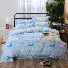 4Pcs Bedding Set(1 Duvet cover+1 Bed sheet+2 Pillow covers) Super Wash Padding Cotton Elasticity f-color as picture 1.8m-bed