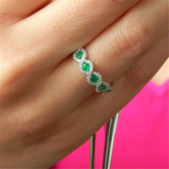 New pattern Mosaic gem Engagement ring Red gem Green gem rings for women green Number11