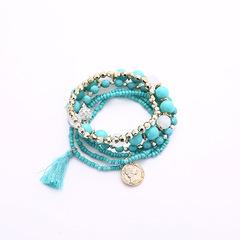 Beads Tassels Gorgeous Multi-storey Poll money Wild Joker fresh temperament Bracelet Necklace blue Elastic force