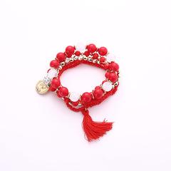 Beads Tassels Gorgeous Multi-storey Poll money Wild Joker fresh temperament Bracelet Necklace red Elastic force