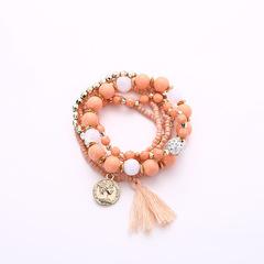 Beads Tassels Gorgeous Multi-storey Poll money Wild Joker fresh temperament Bracelet Necklace orange Elastic force