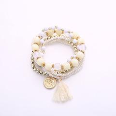 Beads Tassels Gorgeous Multi-storey Poll money Wild Joker fresh temperament Bracelet Necklace white Elastic force