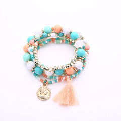 Beads Tassels Gorgeous Multi-storey Poll money Wild Joker fresh temperament Bracelet Necklace Multicolored Elastic force