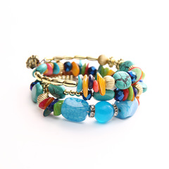Agate stone Hand knitted woman Colourful Elastic force Bracelet Ethnic style multicolored elastic force
