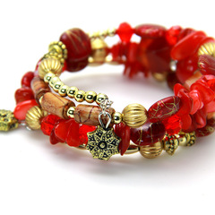 Agate stone Hand knitted woman Colourful Elastic force Bracelet Ethnic style red elastic force