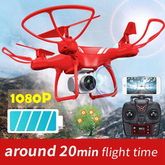 KY101S UAV Wifi FPV 1080P HD Camera RC Drone 20min flight time Quadcopter Altitude hold Helicopter Red Whitout camera with 1 x battery