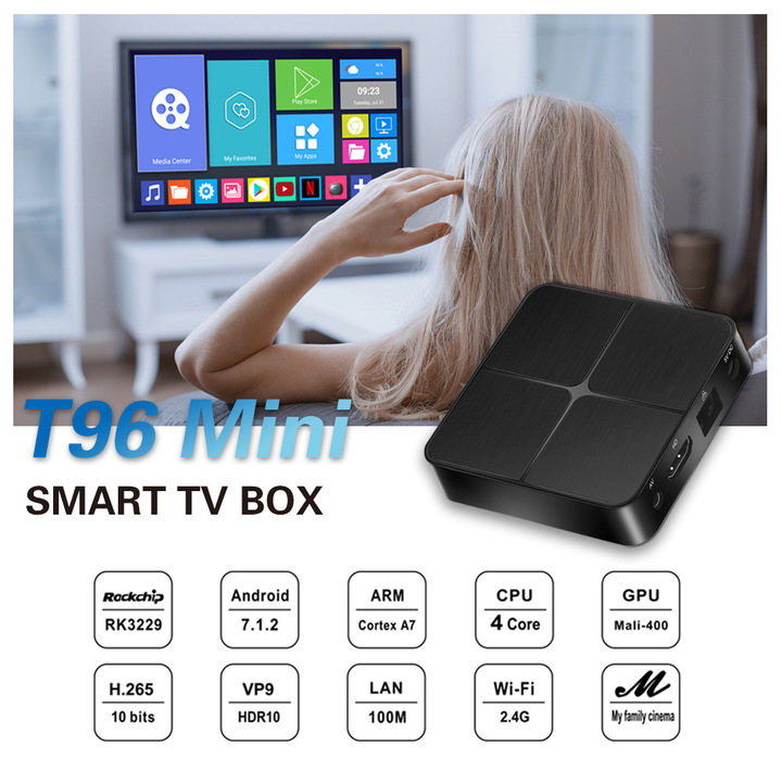 T96 Mini Android 7.1 Smart TV Box 1G 8G RK3229 Quad Core 4K HD Set top Box 2.4G WiFi Media Player