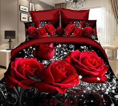 Duvet Cover Set 3D Printing 4pcs Wedding Bedding Sets Queen Size Red Rose Comforter Bag Duvet Cover Red Rose 2pcs/set Twin