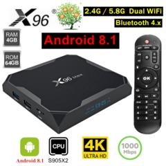 X96 MAX Android 8.1 Smart TV Box 4GB 64G S905X2 Set Top Box USB 3.0 Dual WiFi Bluetooth 4K HD Player