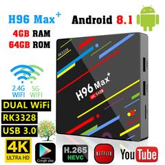 H96 Max+ Max Plus Android 8.1 TV BOX RK3328 4G 64G Set Top Box 2.4G/5G Dual WIFI 4K HD Media Player