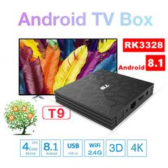 T9 Android 8.1 Smart TV BOX 4G 32G RK3328 Set Top Box USB 3.0 2.4G WiFi BT 4K HD Media Player