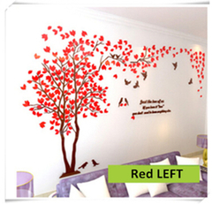 Acrylic Mirror Decals Large Tree 3D Wall Sticker DIY Art TV Background Wall Bedroom Living Room RED LEFT S about 2x1m