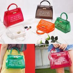 Clear Transparent PVC Jelly Candy Shoulder Bags Women Purse Handbags waterproof beach Crossbody Bag Green small