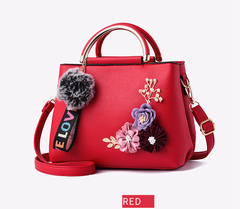 Flower Shell Women's Tote Leather Handbags Shoulder Messenger Bags Sac A Main Femme Fur Ball 2019 RED 24x18x12cm
