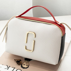 2019 New Women Leather Handbags Contrast Color Shoulder Messenger Bags Female small Crossbody Purses WHITE 20*7*13cm