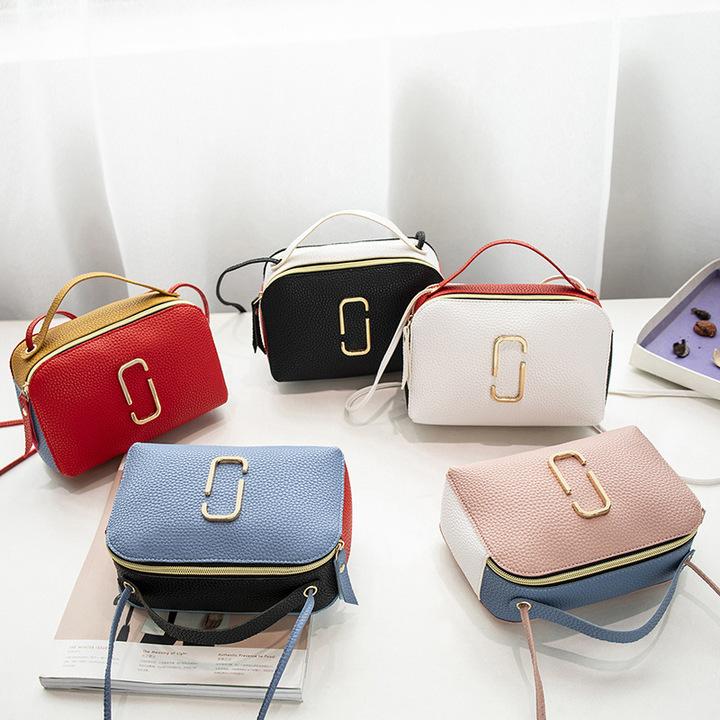 2019 New Women Leather Handbags Contrast Color Shoulder Messenger Bags Female small Crossbody Purses BLUE 20*7*13cm
